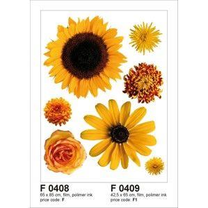 Samolepka na zeď s motivem Žluté květiny, 65×85 cm