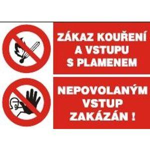 Zákaz kouření a vstupu s plamenem/Nepovolaným vstup zakázán - samolepka A5