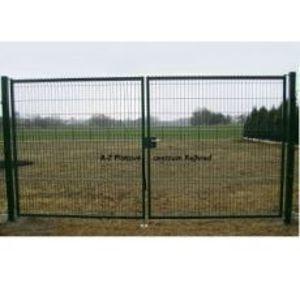 Plotová brána 3D dvoukřídlá 1730 x 3500 mm pozinkovaná PVC vrstvou